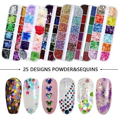 12 Colors Holographic Nail Glitter Powder Sequins Decals For Nail Art Decoration