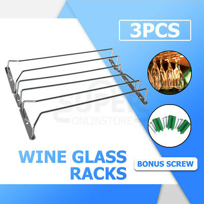 NEW 3pcs Wine Rack Glass Holder Hanging Bar Hanger Iron Shelf Free Screws AU