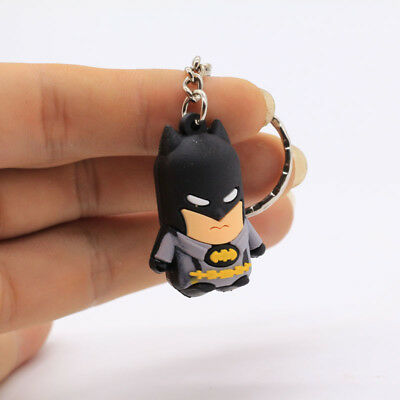 2Pc New 3D  Batman Soft Rubber Keyring Keychain bags Pendant