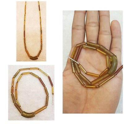 #D76     Ancient Strand Tube Glass Beads Wonderful Patina Old Necklace