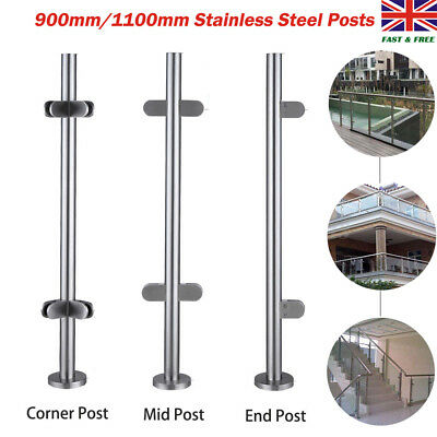 Stainless Steel Balustrade Posts Grade Glass Clamps Rubbers Handrail Garden 304