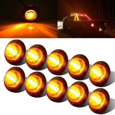 "10X 3/4"" Amber Yellow Small Round Side Marker lights 3LED Button lamps lorry 12V"