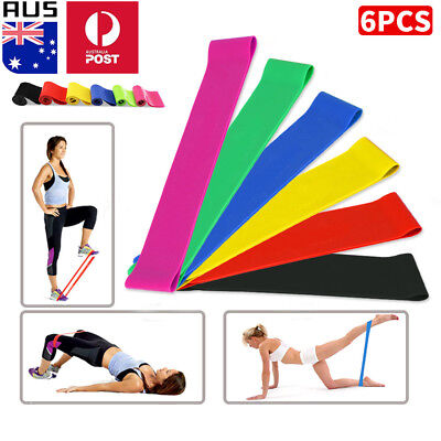 6x Resistance Loop Bands Mini Band Exercise Crossfit Strength Fitness Yoga GYM