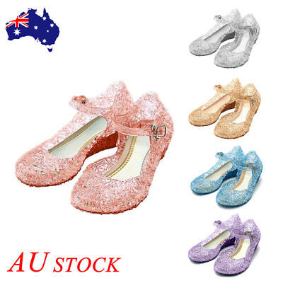Girls Kids Jelly Crystal Sandals Frozen Princess Elsa Cosplay Party Shoe Size