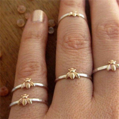 Fashion Unique Gift Insect Pattern Charm Jewelry Bee Finger Ring Gold Plated IT