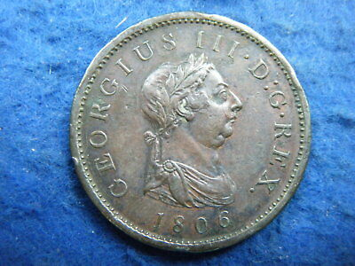 King George Iii: 1806 Copper Penny - Nice Portrait, Scarce Coin!