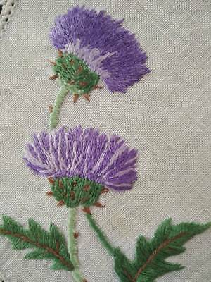 Gorgeous Purple Scottish Thistles ~ Hand Embroidered Doily