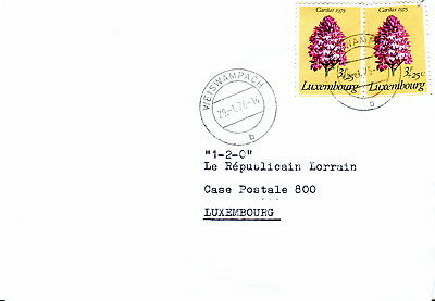 1976 Luxembourg Cover. 3f Pyramid Orchid Flower. Protected Plant. Weiswampach pm