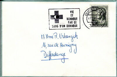 1985 Luxembourg Cover. Blood donor slogan postmark. Medicine