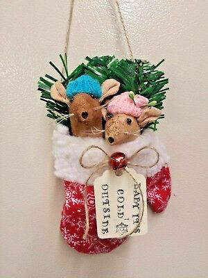 Primitive Mitten/Farmhouse/Mouse/Christmas/Grunged