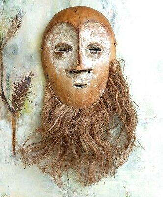 AFRICAN Carved ART LEGA Tribal Lega Bwami Society Mask From the DR Congo VINTAGE