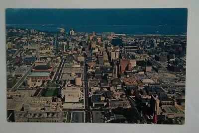 Vintage Postcard Aerial view of Downtown Milwaukee Wisconsin