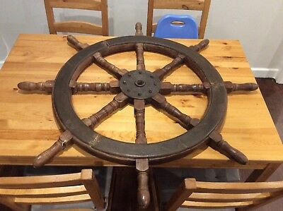 """Large Antique Ships Steering Wheel; Yacht; Boat; 40""""; Collectable; Can Post"""