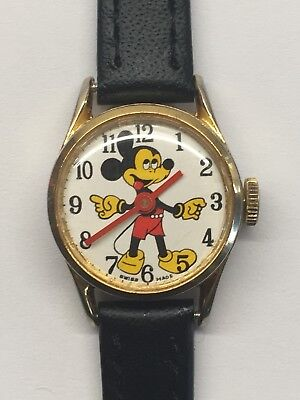 Vintage Mickey Mouse Swiss Made 1J Mechanical Wrist Watch 60s 70s Disney Working