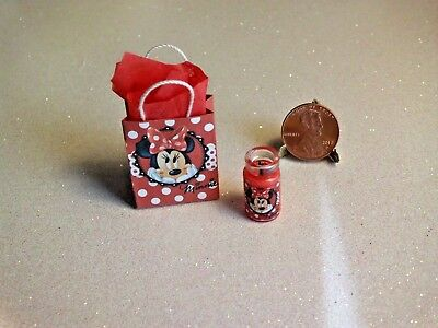 Dollhouse Miniature Gift Bag and Candle Set, ❤Minnie❤1:12 Scale by Wendy Howard
