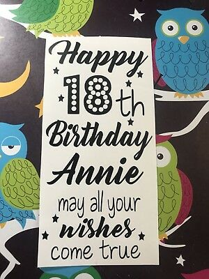 Personalised Happy Birthday May Your Wishes Come True Wine Bottle Vinyl Decal