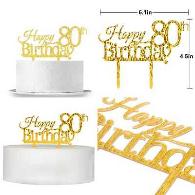Happy 80Th Birthday Cake Topper GOLD Party Decoration Supplies PARTY XL