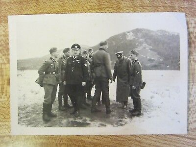 Original WWII German Army Officer & Soldiers w/ Police Officer in Snow Photo