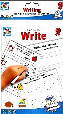 Learn to Write -Educational Wipe Clean Book-Worksheets & Pen - WH3 -R3A -553 NEW