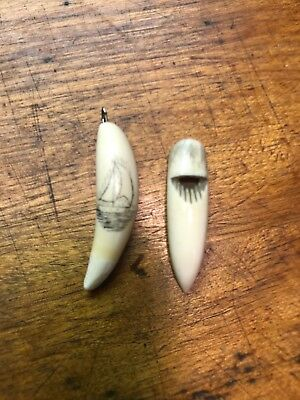 Pair Of Bone Tooth Scrimshaw Ship Pendant And Shore Bird Whistle