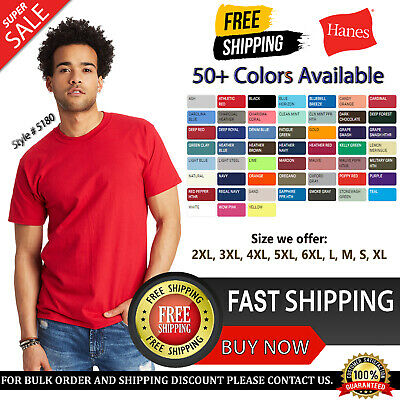 Hanes Mens Beefy-T T-Shirt 100% Cotton 5180 Blank T Shirt Plain Tee Top S-6XL