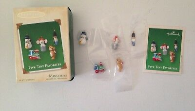Hallmark Miniature Keepsake Ornaments 2002 (5) FIVE TINY FAVORITES in Orig. Box