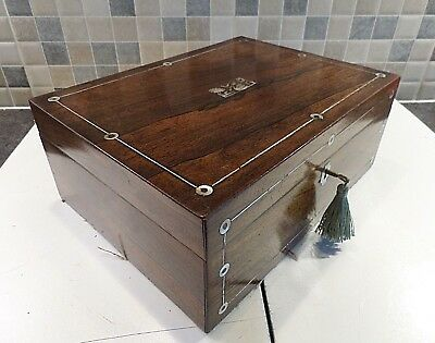 VICTORIAN 19thC ROSEWOOD BOX INLAID WITH MOTHER OF PEARL - RELINED - LOCK & KEY