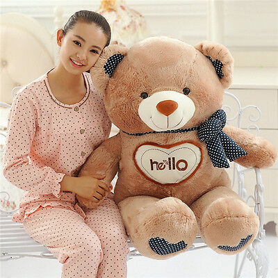 70cm Brown Hello Teddy Bear Giant Large Plush Doll stuffed toy Cuddle kids Gift