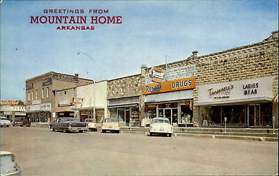 Mountain Home Arkansas ~ Rexall Drugs~Dooley Stores Coca Cola button~1950s cars