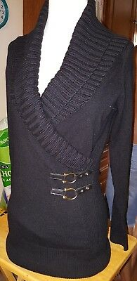 Cache' sweater black size small 9% wool 2 leather straps on waist large collar