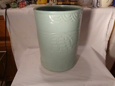 "Vintage Early Pottery Light Green Clipper Ships Waves Ringware 14"" Tall Sand Jar"