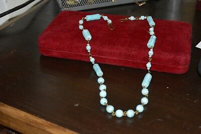 Art deco vintage blue Murano satin glass bead necklace