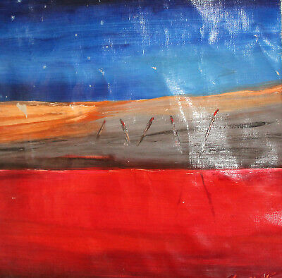 Vintage oil painting abstract landscape signed