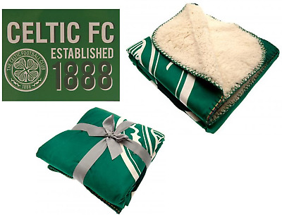 Official Celtic Football Club Sherpa Fleece Blanket Throw Limited Design