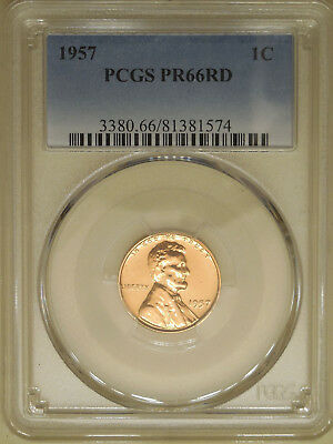 1957 PCGS PR-66-RD proof Lincoln wheat cent red gem no toning