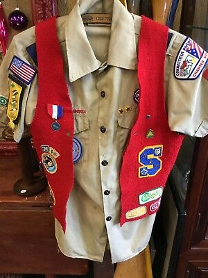 Boy Scout Shirt Vest With Patches Pins