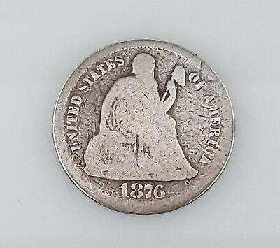 1876 Seated Liberty Dime 10C Silver Coin Obverse Legend Arrows Removed