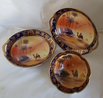 C19th Japanese porcelain bowls. Marked Camel China, hand painted. By Noritaki