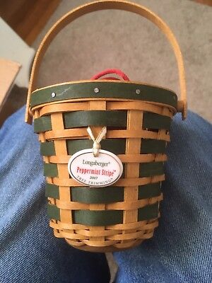 Longer Berger 2007 Tree Trimming Peppermint Stripe Basket Combo With Lit