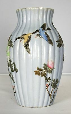 Antique Japanese Kutani Porcelain Hand Painted Ribbed Vase Light Blue