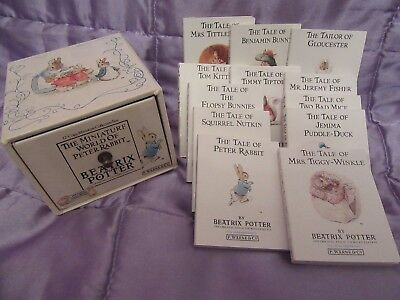 1989 Beatrix Potter The Miniature World of Peter Rabbit 12 Book Collection Box.