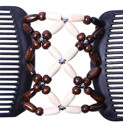Retro Butterfly Wood Bead Stretchy Women Double Magic Slide Comb Clip Hairpins G