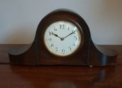 Antique 1930's Oak and Brass Mantel Clock (Brass Bun Feet Oak Beading Winding)