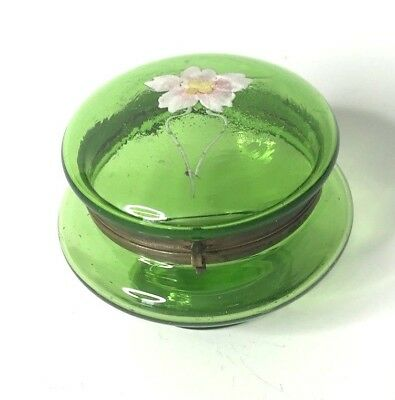 Antique Trinket Dresser Box Hand Painted Flower Green Bubbled Glass Round Hinged