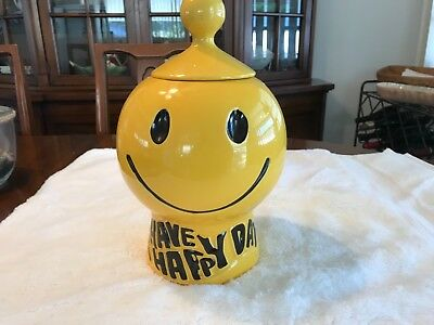 Vintage McCoy Pottery #235 Have A Happy Day Yellow Smiley Face Cookie Jar