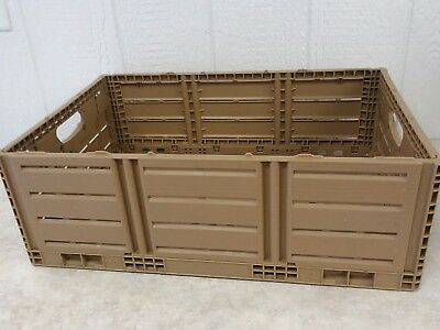 """SET of 3 - PLASTIC FOLDING COLLAPSIBLE STACKING CRATES/ BINS/ BASKETS - 8"""" Sides"""