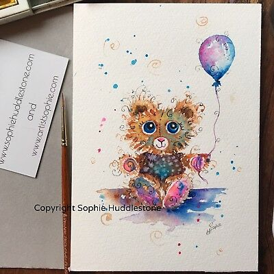 original watercolour painting signed contemporary art Teddy Bear by Sophie H