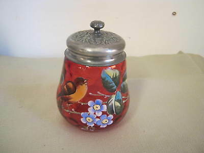 Ornate Vintage Hand Painted Bird Cranberry Glass, Sugar, Pickle Jar, Honeycomb