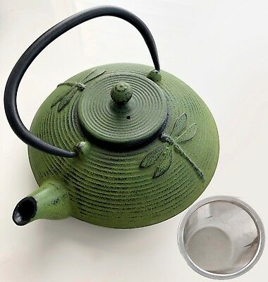 27 oz Japanese dragonfly cast iron tea pot  inner enamel coated and infuser
