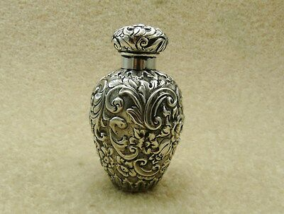 Victorian 1888 Solid Silver Floral Scent Perfume Bottle By Deakin & Francis Vgc